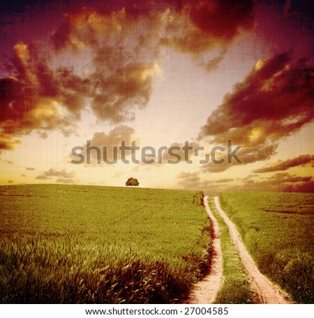 vintage landscape view - stock photo