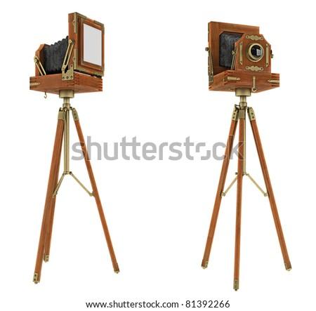 Vintage large format camera isolated on white - stock photo