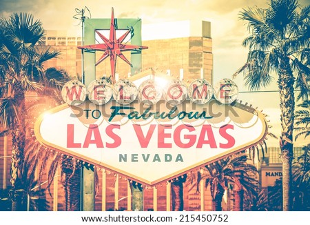 Vintage Las Vegas Photo. Las Vegas Boulevard Entrance Sign. Nevada, United States. Sin City Concept. - stock photo