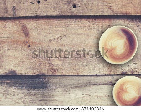 vintage latte art coffee, background  - stock photo