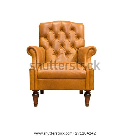 vintage leather armchair isolated on white - stock photo