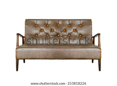 Vintage leather sofa with brown and made of solid wood, isolated on white background - stock photo