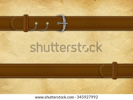 Vintage leather textured background with a belt - stock photo
