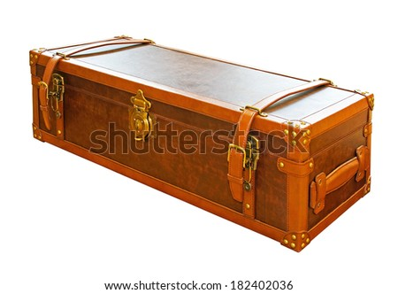 Vintage leather trunk case isolated included clipping path