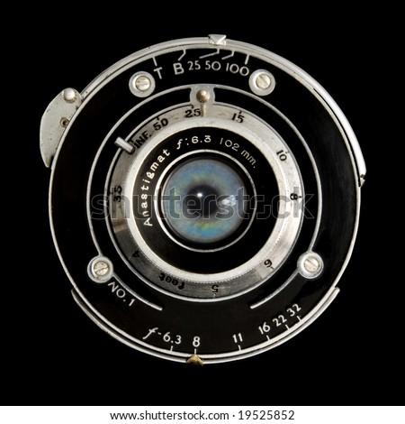 vintage lens human eye iris. - stock photo