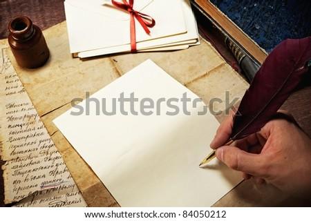 Vintage letter concept. - stock photo
