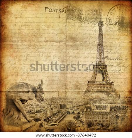 vintage letter - Paris - stock photo