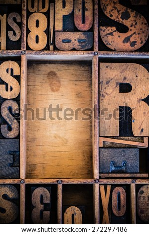 Vintage letterpress type in drawer with copy space. - stock photo