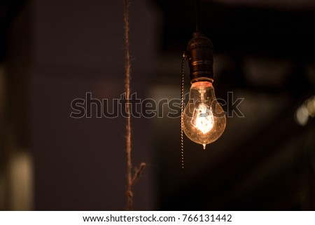 Vintage light bulbs hanging ceilings stock photo 766131439 vintage light bulbs hanging from ceilings aloadofball Choice Image