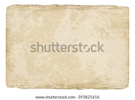 Vintage light paper blank with old spots and torn edges isolated on white background. Old texture.  - stock photo