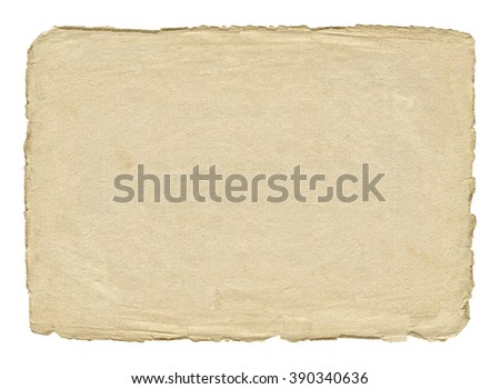 Vintage light paper blank with torn edges isolated on white background. - stock photo