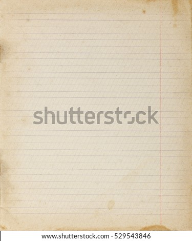 Vintage lined paper background. Blank copybook textured page with spots