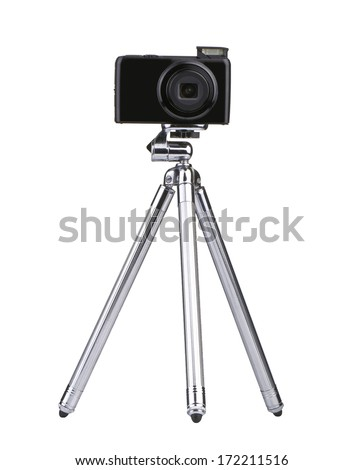 Vintage little Photo tripod with camera isolated on white background from front - stock photo