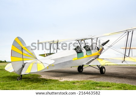 Vintage little plane: The Stampe et Vertongen SV.4  is a Belgian two-seat trainer/tourer biplane. - stock photo