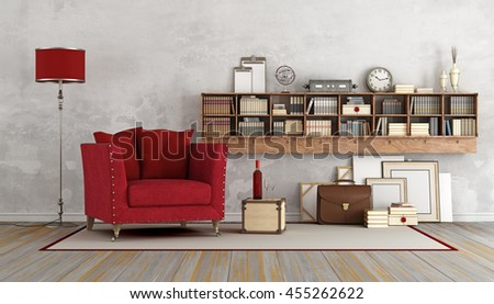 Vintage living room with red armchair and wooden book case with books and decor objects - 3D Rendering - stock photo