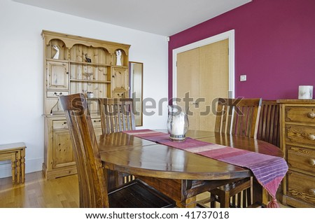 vintage living room with round dining table - stock photo