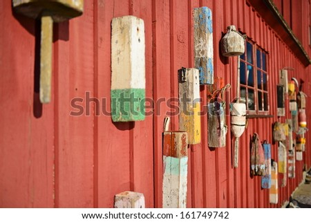 Vintage Lobster Trap Floaters in Rockport, Massachusetts, USA - stock photo