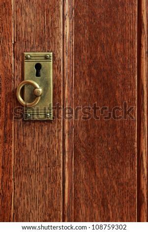 Vintage lock on wooden door - stock photo