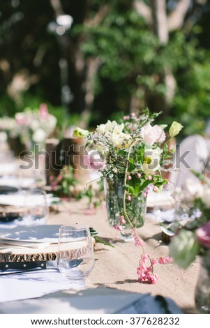 vintage long table wedding decoration