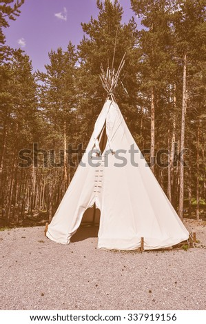 Vintage looking A fabric tent shelter for outdoor camping in a pine tree forest