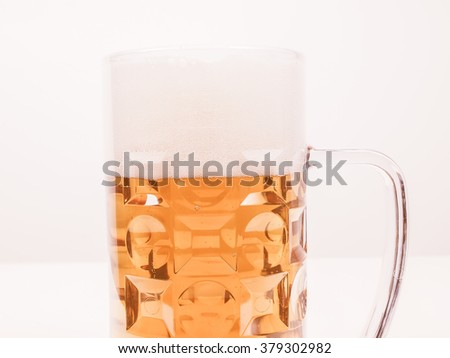 Vintage looking A large glass of German lager beer
