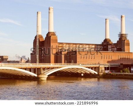 Vintage looking Battersea Power Station in London England UK