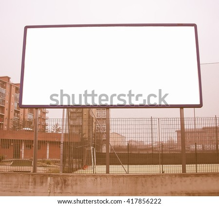 Vintage looking Blank billboard hoarding with copyspace