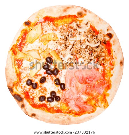 Vintage looking Italian Four Seasons Pizza Pizza Quattro Stagioni - isolated over a white background - stock photo