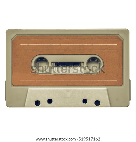 Vintage looking Magnetic tape cassette for audio music recording - isolated over white background