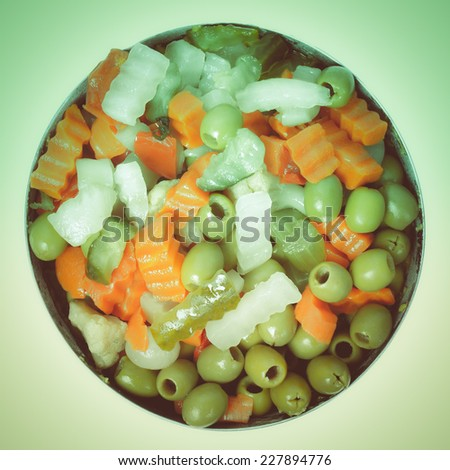 Vintage looking Mixed vegetables as used in Russian Salad including carrots turnips courgettes zucchini cauliflower peppers celery onions olives - stock photo