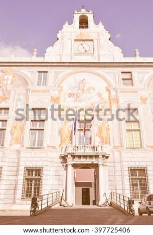 Vintage looking Palace of St George (Palazzo San Giorgio), Genoa, Italy - stock photo