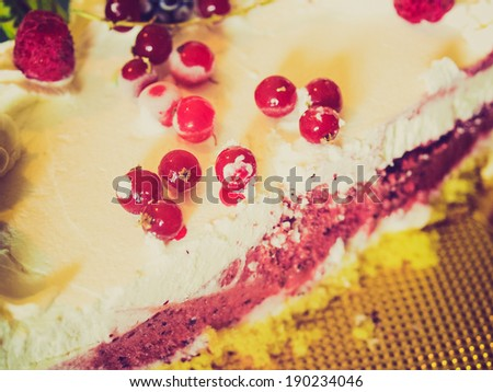 Vintage looking Pie or cake with fruit and icecream - stock photo