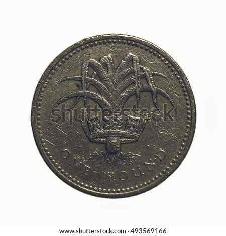 Vintage looking Pound coin - 1 Pound currency of the United Kingdom isolated over white background