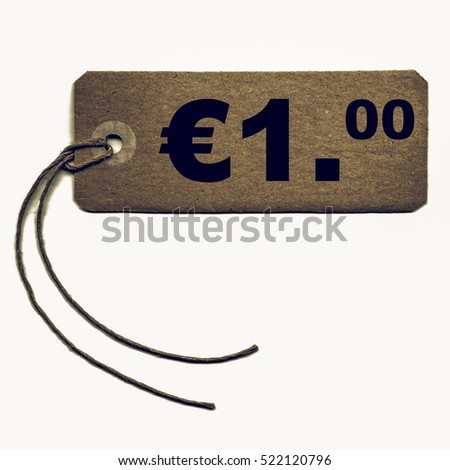 Vintage looking Price tag with string isolated over white - 1 Euro