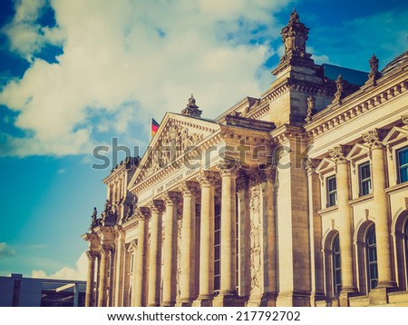 Vintage looking Reichstag German houses of parliament in Berlin Germany - stock photo