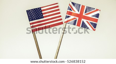 Vintage looking The national flag of the United Kingdom (UK) and United States of America (USA) - selective focus