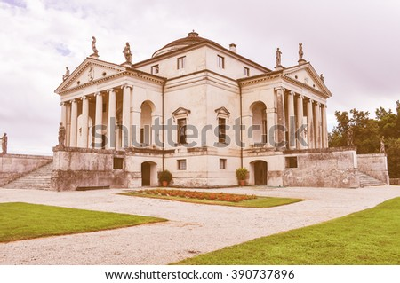 Vintage looking The Villa La Rotonda aka Villa Capra in Vicenza Italy was designed by Palladio in 1567