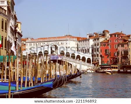 Vintage looking Town of Venice Venezia in Italy - stock photo