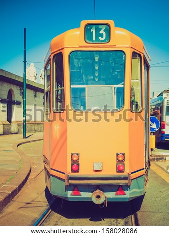 Vintage looking Tramway train for public transport mass transit in Turin, Italy
