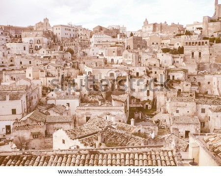 Vintage looking View of the ancient city of Matera in Italy