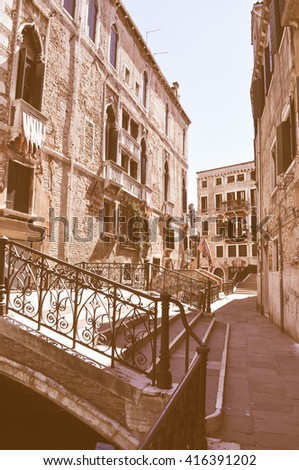 Vintage looking View of the town of Venice (Venezia) in Italy