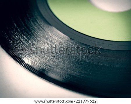 Vintage looking vinyl record music recording support