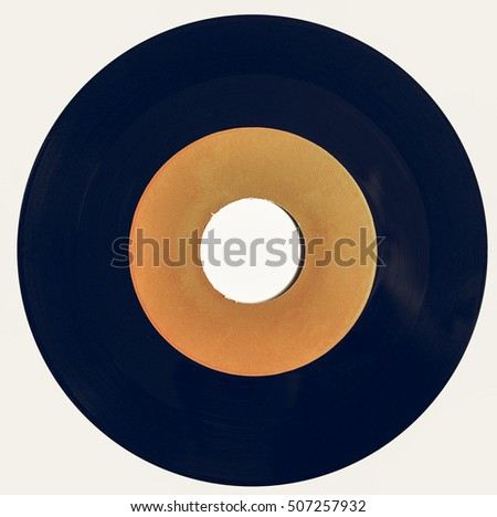 Vintage looking Vinyl record vintage analog music recording medium with orange label isolated over white