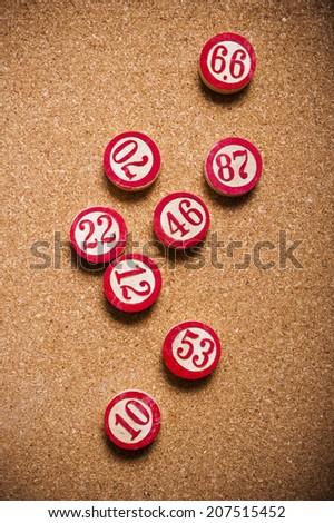 vintage lotto or bingo numbers  - stock photo