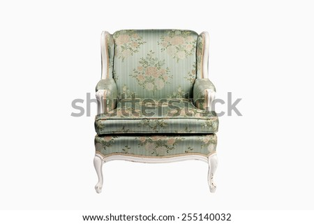 Vintage luxury green armchair isolated on white
