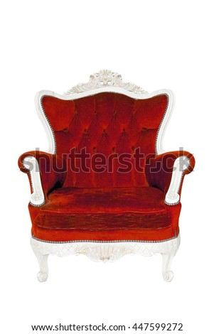 Vintage luxury red sofa Armchair isolated on white background with Clipping path - stock photo