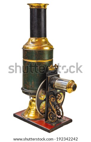 Vintage magic lantern projector isolated on a white background - stock photo
