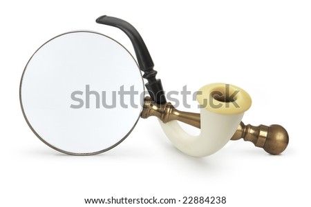 Vintage Magnifying glass with Sherlock Holmes Pipe isolated on white with a clipping path - stock photo