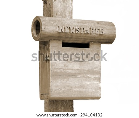 Vintage mailbox newspapers isolated on white background. This has clipping path.   - stock photo