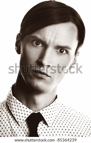 Vintage man on a white background. Sepia colors and grain added for old effect - stock photo
